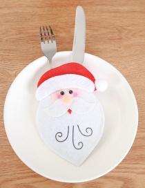 Fashion Red Santa Claus Pattern Decorated Cutlery Cover
