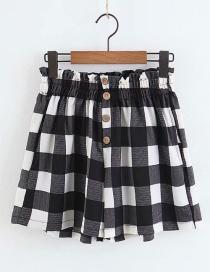 Fashion Black+white Grids Pattern Decorated Short Pants