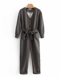 Fashion Dark Gray Stripe Pattern Decorated Jumpsuit