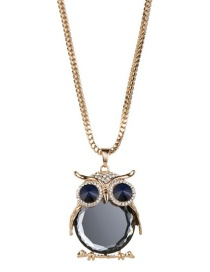 Fashion Gold Color Owl Shape Decorated Necklace
