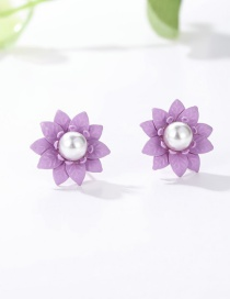 Fashion Purple Pearl Decorated Pure Color Earrings