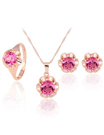 Fashion Rose Gold Flower Shape Decorated Jewelry Set