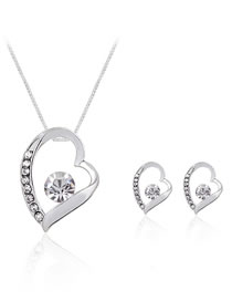 Fashion White Heart Shape Decorated Jewelry Set