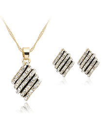 Fashion Gold Color Full Diamond Decorated Jewelry Set