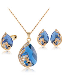 Fashion Blue Waterdrop Shape Decorated Jewelry Set