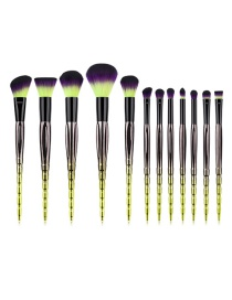 Fashion Multi-color Round Shape Decorated Makeup Brush(12pcs)