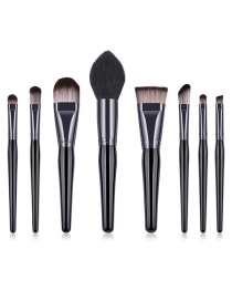 Fashion Black Pure Color Decorated Makeup Brush(8pcs)