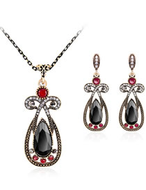Fashion Black Water Drop Shape Decorated Jewelry Set (3 Pcs )