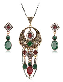 Fashion Multi-color Diamond Decorated Hollow Out Jewelry Set (3 Pcs )