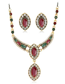 Fashion Red Oval Shape Decorated Jewelry Set ( 3 Pcs )