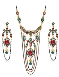 Fashion Multi-color Diamond Decorated Jewelry Set (3 Pcs )