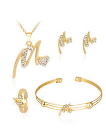 Fashion Gold Color Diamond Decorated Pure Color Jewelry Set (5 Pcs )