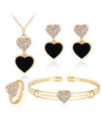 Fashion Black+gold Color Heart Shape Decorated Jewelry Set (5 Pcs )
