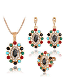 Fashion Multi-color Diamond Decorated Jewelry Set (4 Pcs )