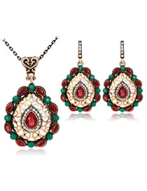Fashion Multi-color Water Drop Shape Decorated Jewelry Set (3 Pcs )