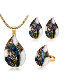 Fashion Blue Water Drop Shape Decorated Jewelry Set ( 4 Pcs )