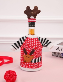Fashion Red Elk Pattern Decorated Christmas Bottle Cover