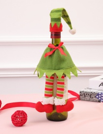 Fashion Red Stripe Pattern Decorated Christmas Bottle Cover