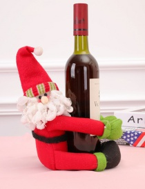 Fashion Red Santa Claus Shape Decorated Christmas Bottle Holder