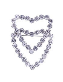 Fashion White Full Diamond Design Heart Shape Brooch