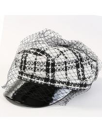 Fashion White Grid Pattern Decorated Simple Hat