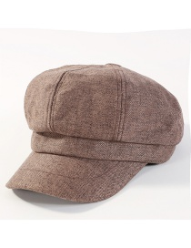 Fashion Coffee Pure Color Decorated Octagonal Cap