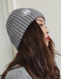Fashion Gray Embroidery Ab Decorated Knitted Hat