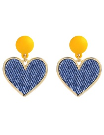 Elegant Yellow Heart Shape Decorated Simple Earrings