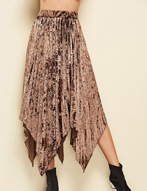Elegant Coffee Pure Color Decorated Simple Skirt