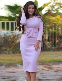 Fashion Purple Round Neckline Design Pure Color Dress