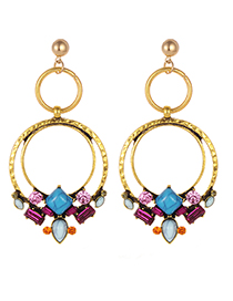 Fashion Multi-color Round Shape Decorated Earrings