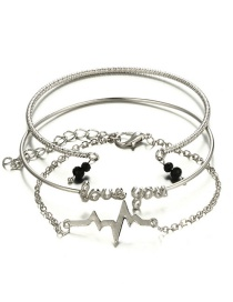 Fashion Silver Color Letter Shape Decorated Bracelet (3 Pcs )