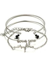 Fashion Silver Color Letter Shape Decorated Bracelet (3 Pcs )