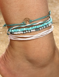 Fashion Blue Bead Decorated Anklet
