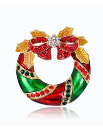 Fashion Red Bowknot Shape Decorated Brooch