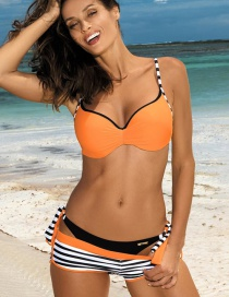 Fashion Orange Stripe Pattern Decorated Bikini