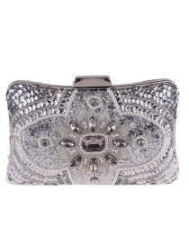 Fashion Silver Color Diamond Decorated Handbag