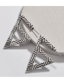 Fashion Antique Silver Triangle Shape Decorated Earrings
