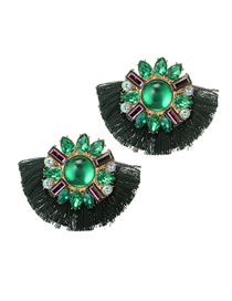 Fashion Green Pearl&diamond Decorated Earrings