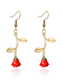 Vintage Red Rose Shape Design Long Earrings