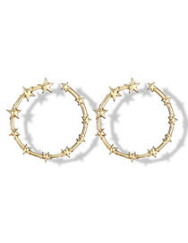 Fashion Gold Color Star Shape Decorated Circular Ring Earrings