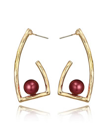 Fashion Red Balls Decorated Pure Color Earrings