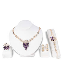 Fashion Purple Diamond Decorated Jewelry Set