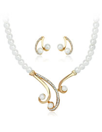 Fashion Gold Color+white Diamond Decorated Jewelry Set