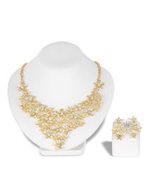 Fashion Gold Color Flower Shape Decorated Jewelry Set