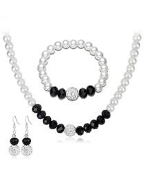 Fashion White+black Pearl Decorated Jewelry Set