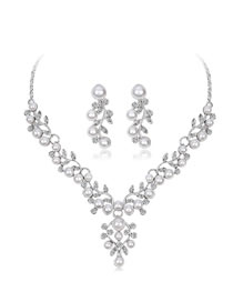Fashion Silver Color Pearl&diamond Decorated Jewelry Set
