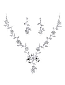 Fashion Silver Color Flower Shape Decorated Jewelry Set