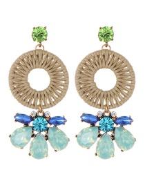 Fashion Blue Water Drop Shape Decorated Earrings