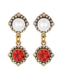 Fashion Red Full Diamond&pearl Decorated Earrings